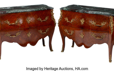 A Pair of French Louis XV-Style Gilt Bronze Mounted Mahogany Parquetry Commodes with Marble Tops (19th century)