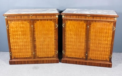 A Pair of French Mahogany, Parquetry, Gilt Metal Mounted...