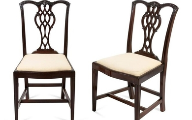 A Pair of George III Mahogany Side Chairs Height 36 3/4
