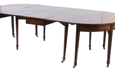 A REGENCY MAHOGANY 'D' END EXTENSION DINING TABLE
