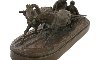 A RUSSIAN BRONZE COMPOSITION DEPICTING SLEDS