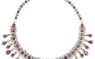 A Ruby, Diamond, Silver and Gold Necklace