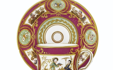 A SEVRES (HARD PASTE) CLARET AND MINT-GREEN GROUND COFFEE-CAN AND SAUCER (GOBELET 'LITRON' ET SOUCOUPE, 4EME GRANDEUR), CIRCA 1785, CROWNED PINK INTERLACED L'S, PAINTER'S MARK FOR L.-F. L'ECOT, THE CUP INCISED SN, THE SAUCER INCISED JDD