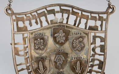 A STERLING SILVER TORAH SHIELD DESIGNED BY LUDWIG WOLPERT....