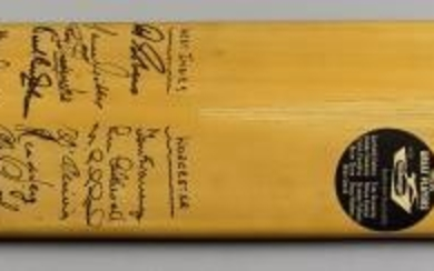 A Slazenger Cricket Bat, 1960s, autographed to front by...
