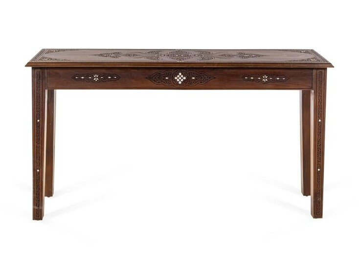 A Syrian Mother-of-Pearl Inlaid Walnut Console Table