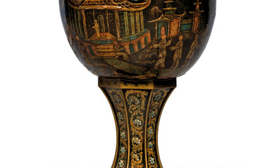 A VICTORIAN BLACK, GILT AND POLYCHROME-DECORATED TOLE JARDINIERE
