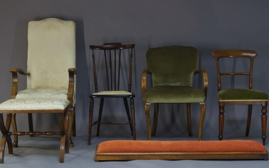 A Victorian mahogany bar back dining chair, with green velvet...