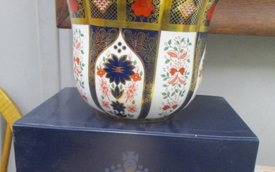 "A boxed Royal Crown Derby Imari pattern planter 5 1/2""h. Loc..."