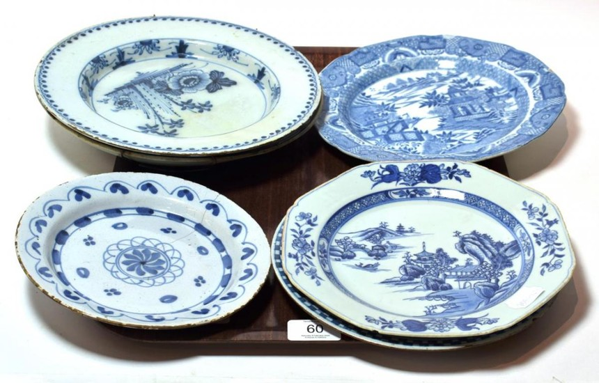 A collection of 18th and 19th century blue and white...
