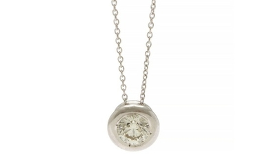 A diamond pendant set with a brilliant-cut diamond weighing app. 0.30 ct., mounted in 14k white gold. Accompanied by chain of 14k white gold. L. app. 43.5 cm.