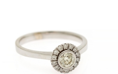A diamond ring set with a brilliant-cut diamond encircled by numerous smaller brilliant-cut diamonds, mounted in 14k white gold. Size 56.