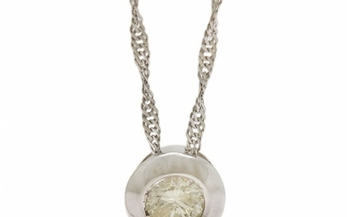 A diamond solitaire necklace set with a brilliant-cut diamond weighing app. 0.31 ct., mounted in 18k white gold. L. 49 cm. (2)