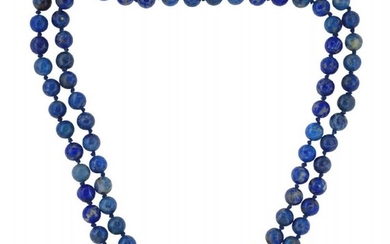 A lapis lazuli necklace, composed of a...