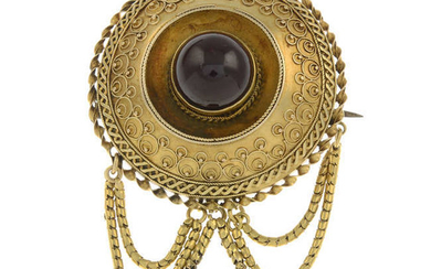 A mid to late Victorian gold garnet brooch.