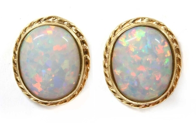 A pair of 9ct gold synthetic opal stud earrings