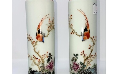 A pair of Chinese porcelain Republic style sleeve vases with...