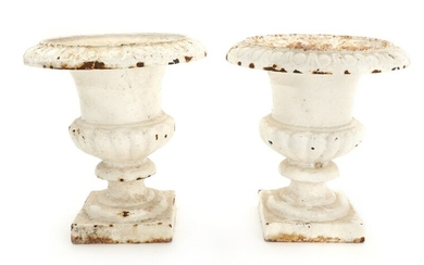NOT SOLD. A pair of whitepainted iron garden urns. 20th century. H. 25 cm. (2)...