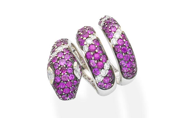 A pink sapphire and diamond serpent ring