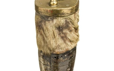 A silver inlaid powder flask made from a deer or mosse