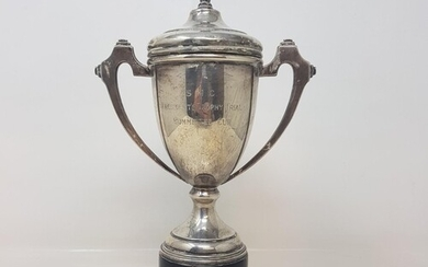 A silver trophy cup and cover, inscribed, Birmingham 1935, 2...