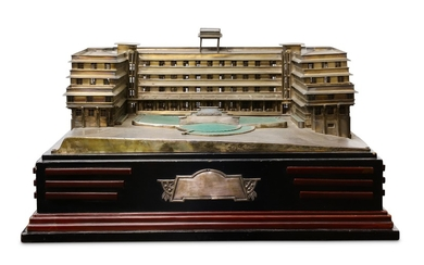 AN UNUSUAL INDIAN SILVER ARCHITECTURAL MODEL OF THE ART DECO RAMGHANDRAM BHATT HOTEL