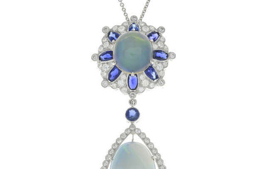 An 18ct gold opal, sapphire and diamond pendant, with chain.