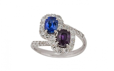 An 18ct gold, sapphire ruby and diamond...