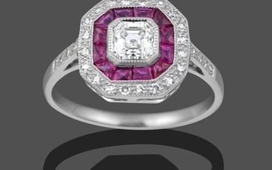 An Art Deco Style Ruby and Diamond Cluster Ring, the...