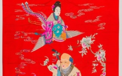 An Embroidered Figurative Panel, China.