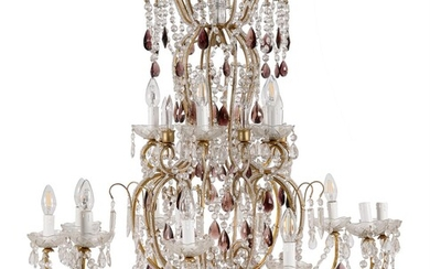 An Italian gilt metal and clear and amethyst glass mounted fifteen light chandelier
