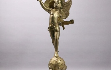 Antique Cast Brass Winged Cupid Holding Torch Statue