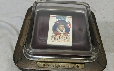 Antique Raleigh Cigarettes Pack Display Under Glass