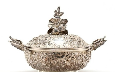 Baltimore Repousse Coin Silver Serving Dish with Cover