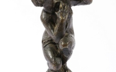 Bronze Classical Figural Study Of a Lady on Marble Base (H:14cm)