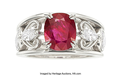 Burma Ruby, Diamond, Platinum Ring The ring features an...