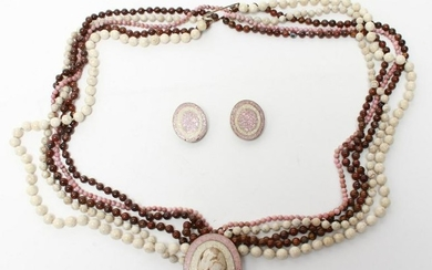 C. Sebiri Agate & Rose Quartz Necklace & Earrings