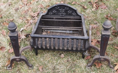 CAST IRON FIREPLACE INSERT WITH ANDIRONS