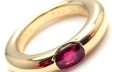 Cartier 18k Yellow Gold Ruby Ellipse Band Ring Size 50