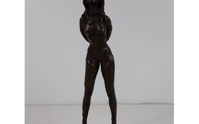 Cast bronze figure of a lady in bondage on marble base, over...