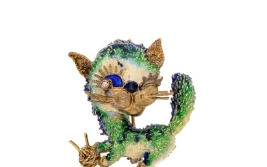 Cat brooch in yellow gold, colored enamels and diamond