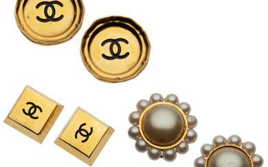 Chanel Set of Three: Gold Clip-On Earrings Condition: 3...