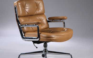 Charles Eames. Vintage office chair. Time Life Lobby Chair, patinated brown leather.