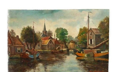 Charles P. Gruppe (1860-1940), Dutch Village with Canal