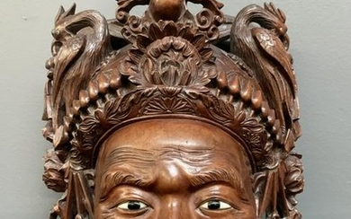 Chinese Carved Hard Wood Redwood Mask