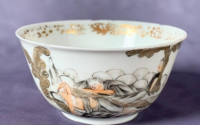 Chinese Export Wine Cup in Grisaille, mythological subject of Cupid and Psyche, finely potted, glazed en grisaille with gilding. 3 in. dia. 5 in.h. Condition: Several small rim chips/flakes, wear and losses to gilding.