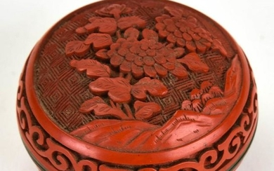 Chinese Hand Carved Cinnabar Covered Box