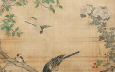 Chinese school, ink and colour on silk, 18/19th C.: 'Birds and their preys'