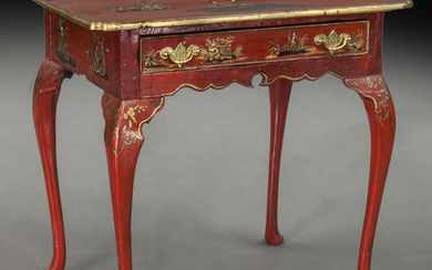 Chinoiserie red lacquer and gilt table,