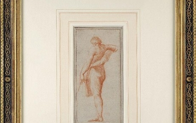 Circle of Gilles Demarteau, French 1722-1776- Study of a draped...